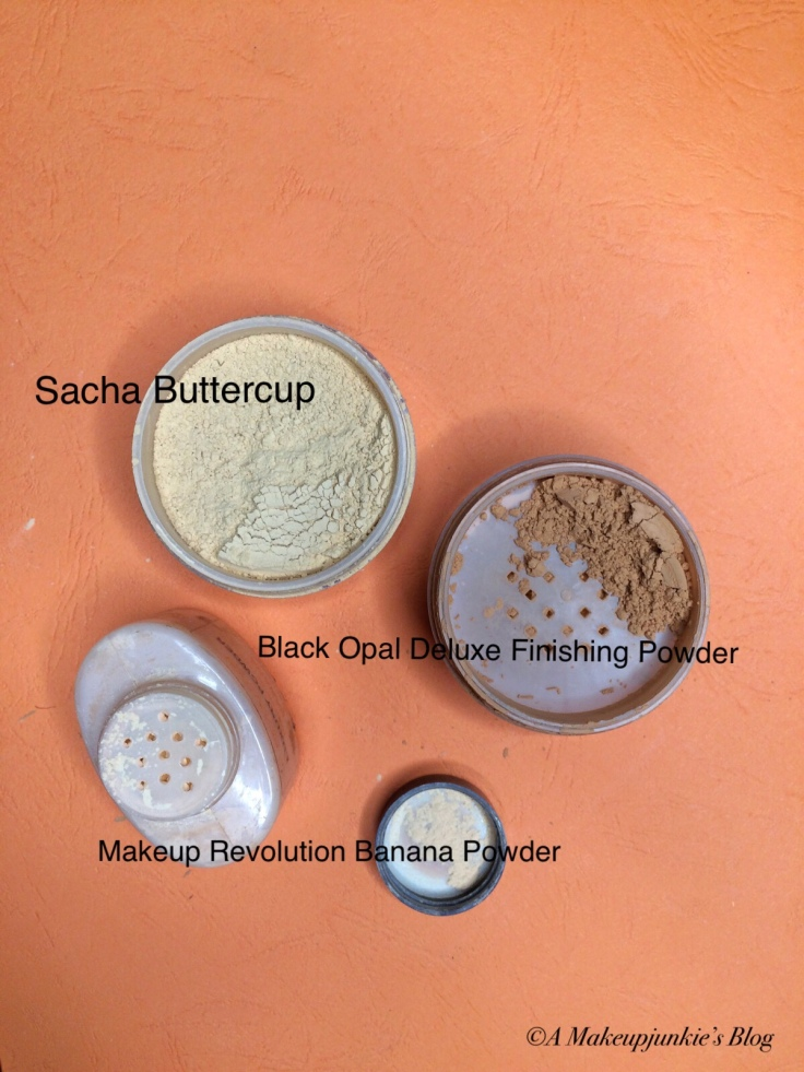Comparison of Sacha Buttercup to Makeup Revolution Banana Powder and Black Opal Deluxe Finishing Powder