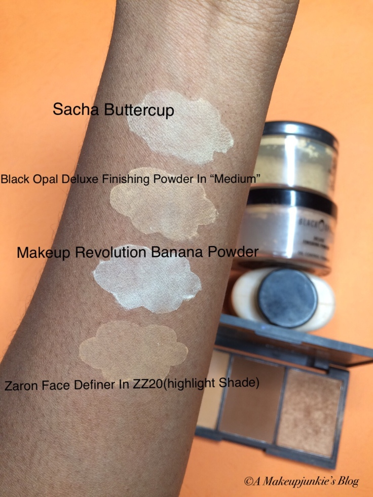 Swatch Comparison of Sacha Buttercup to Makeup Revolution Banana Powder and Black Opal Deluxe Finishing Powder
